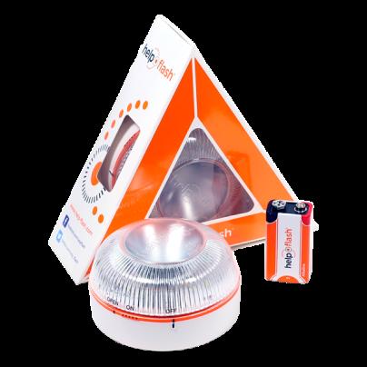 Caja naranja con la baliza y la batería de Help Flash